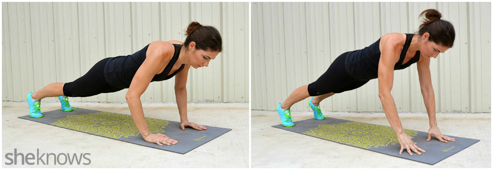 Power plank with baby pushup