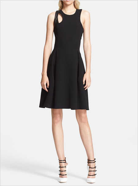 Prabal Gurung Leather Trim Crepe Fit Flare Dress