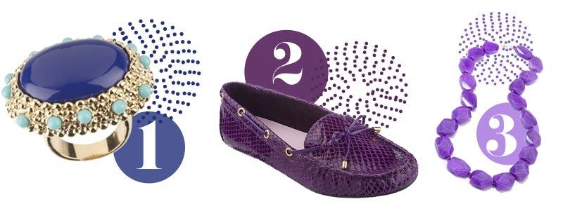 Purple accessories: Purple ring, purple shoes, purple necklace
