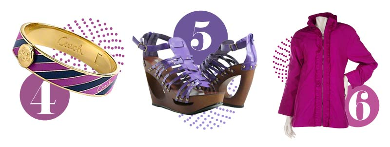 Purple accessories for spring: Purple bracelet, purple wedge shoes, purple jacket