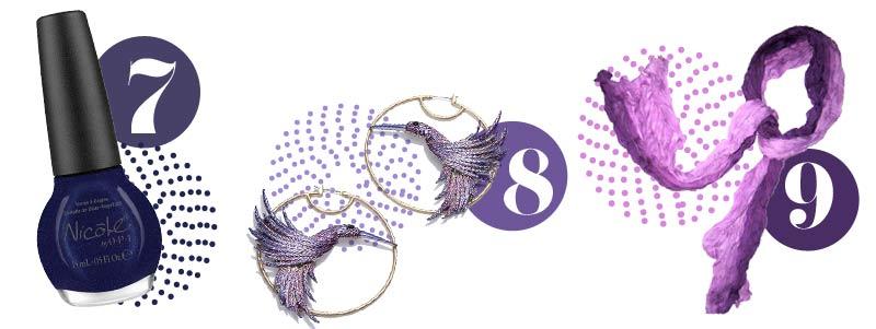 Purple accessories for spring: Purple nail polish, purple earringts, purple scarf