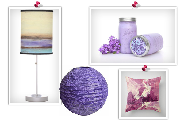Purple feng shui product collage