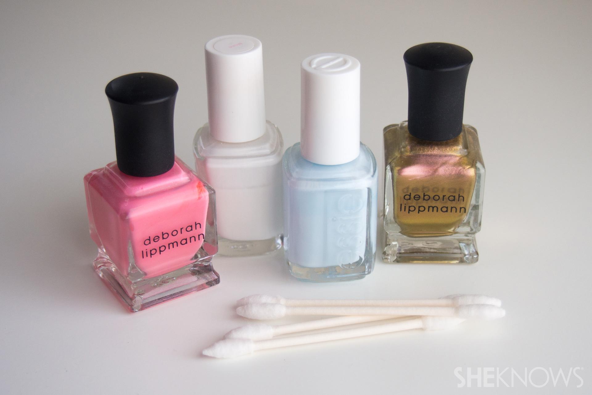 Nail art set up, chosen nail polishes and Q-tips