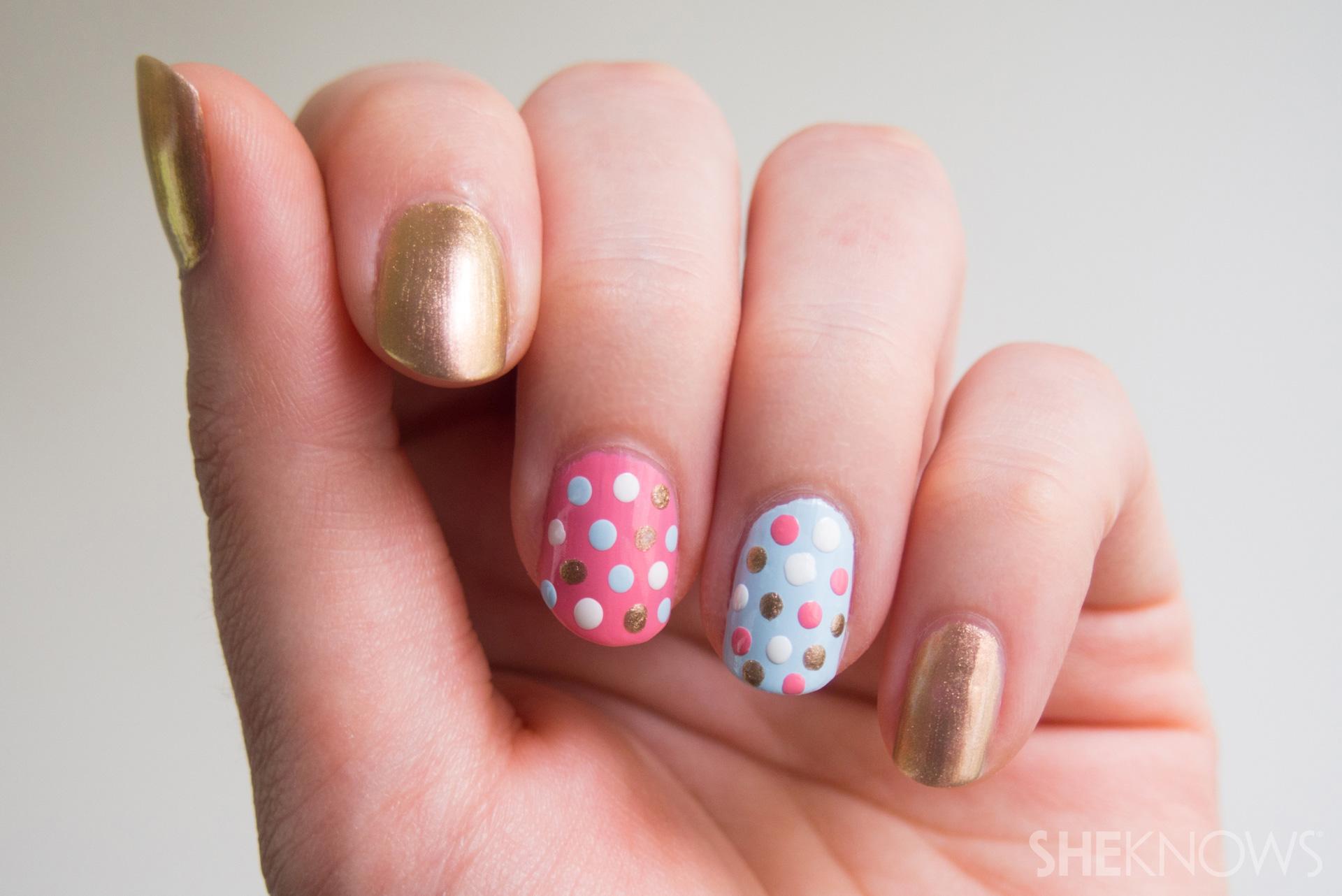 Finished polka dot nails