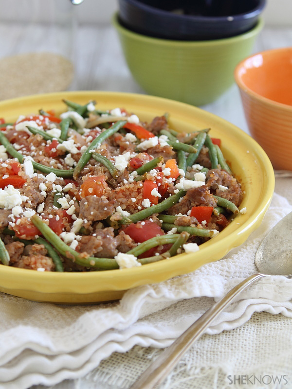 Quinoa green bean & sausage bake