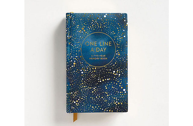 One line a day journal with a celestial print