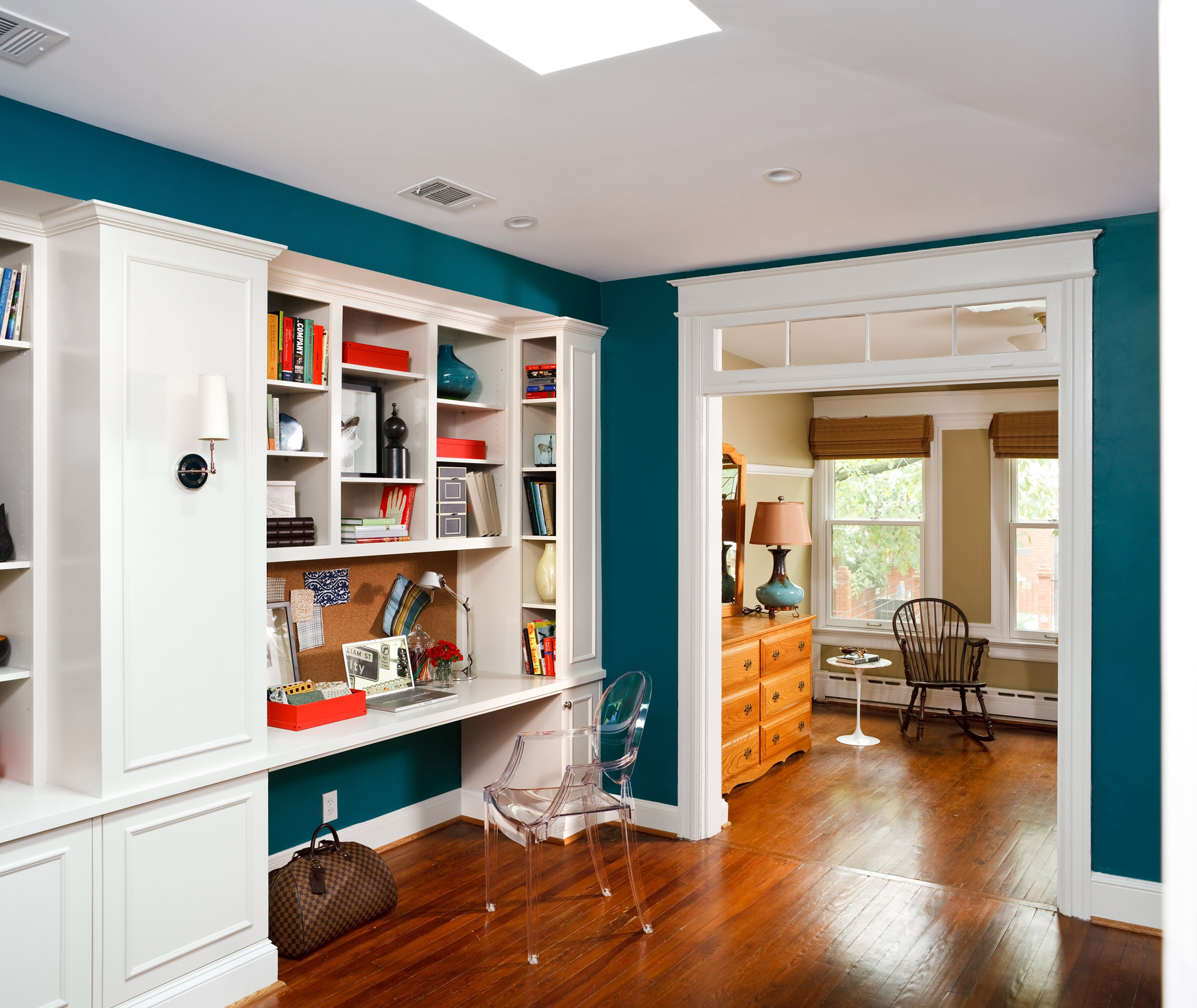 Let your book shelving do the decorating