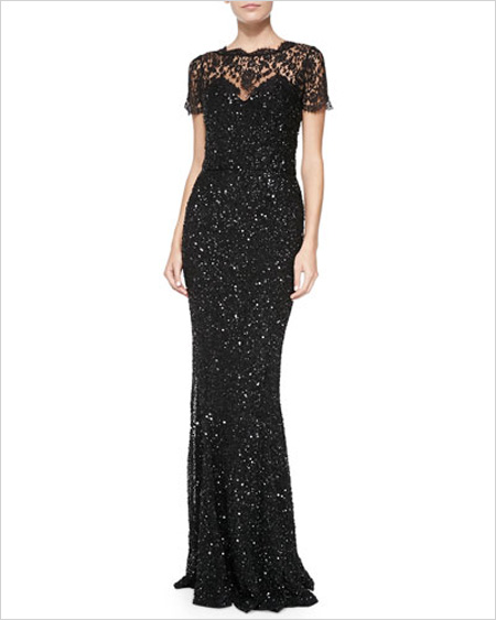 Rachel Gilbert Elaine Beaded-Lace Gown W/ Short Sleeves