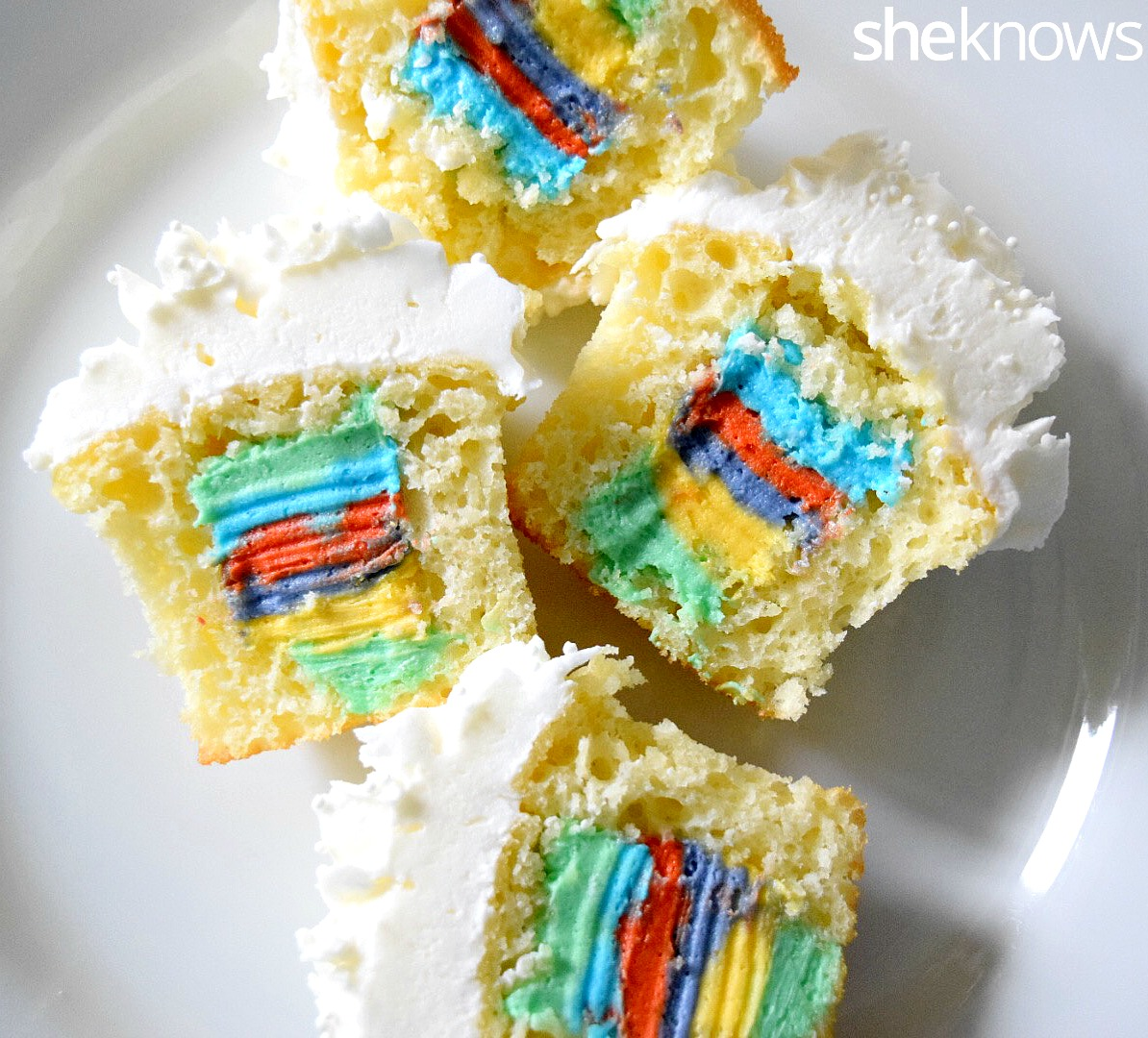 Rainbow filled cupcakes