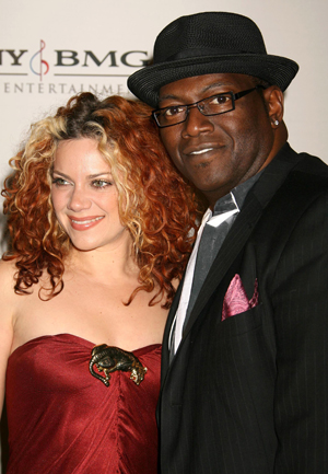 Randy Jackson with Nikka Costa at Clive Davis' Grammy party