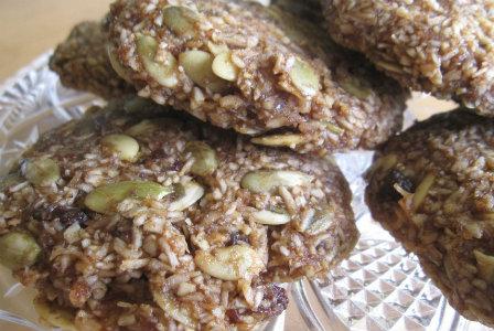 Raw pumpkin seed raisin cookies