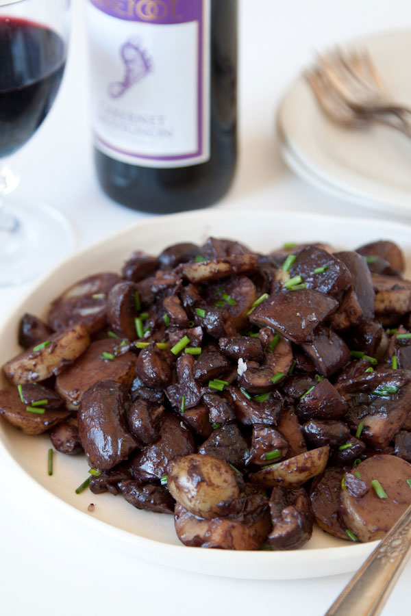 red wine mushrooms and potatoes