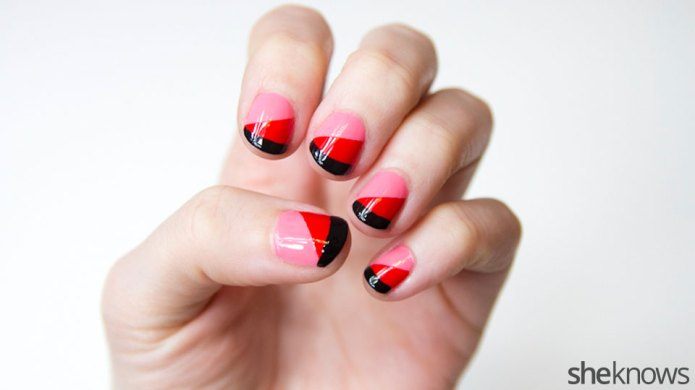 A simple red and pink nail
