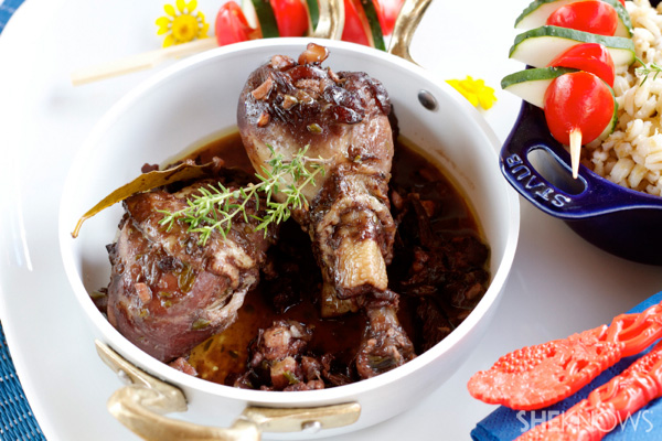 Red wine chicken and mushrooms
