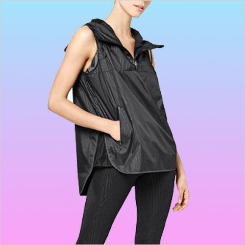 Reflective Print Hooded Sleeveless Jacket