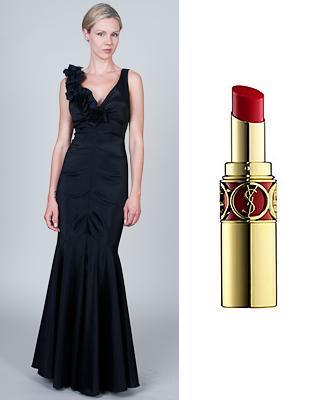 Black floral dress and Rouge Volupte lipstick