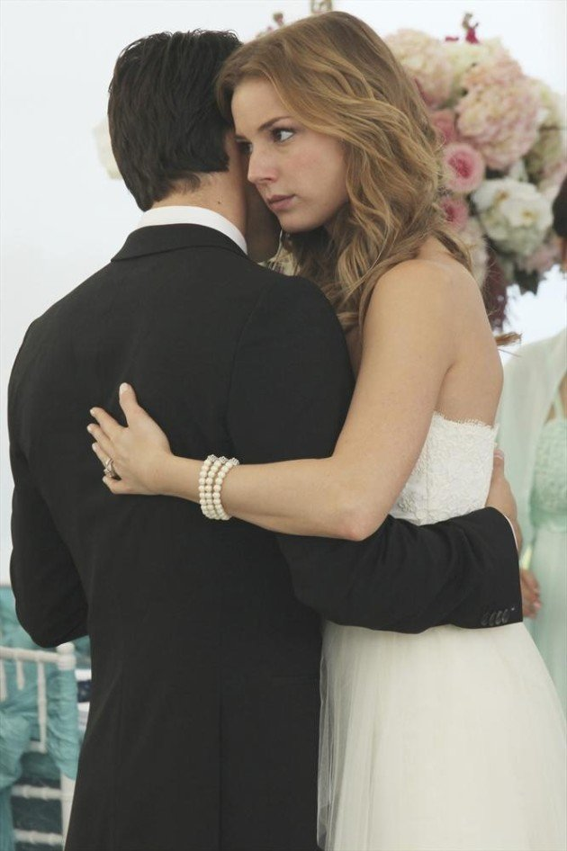 Emily on her Revenge wedding day with Daniel