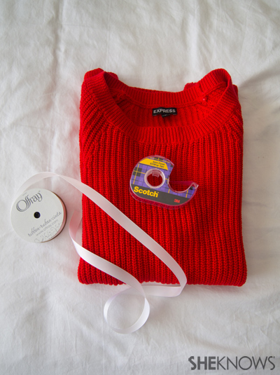 DIY Chevron ribbon arm sweater | Sheknows.com -- supplies