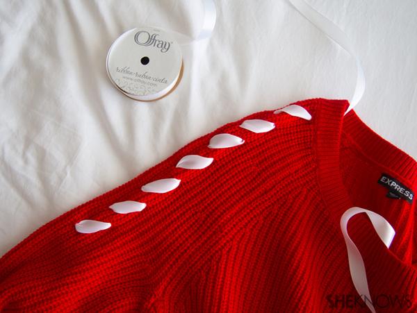 DIY Chevron ribbon arm sweater | Sheknows.com -- sew