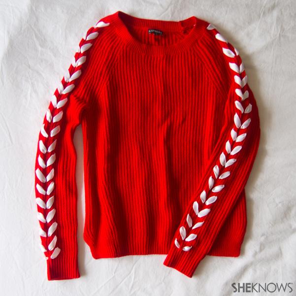 DIY Chevron ribbon arm sweater | Sheknows.com -- final result