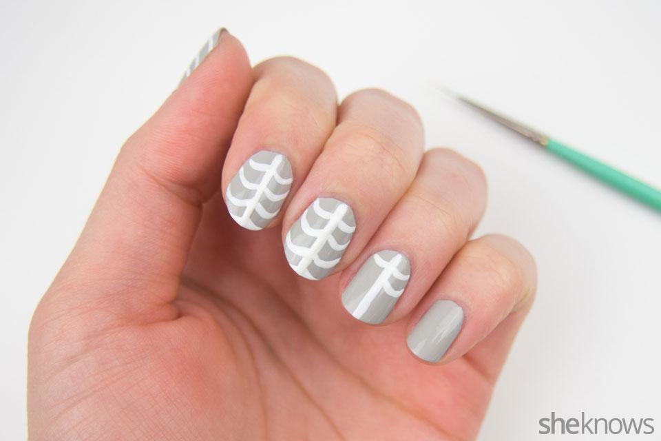 Ribcage Halloween nail design: Step 2