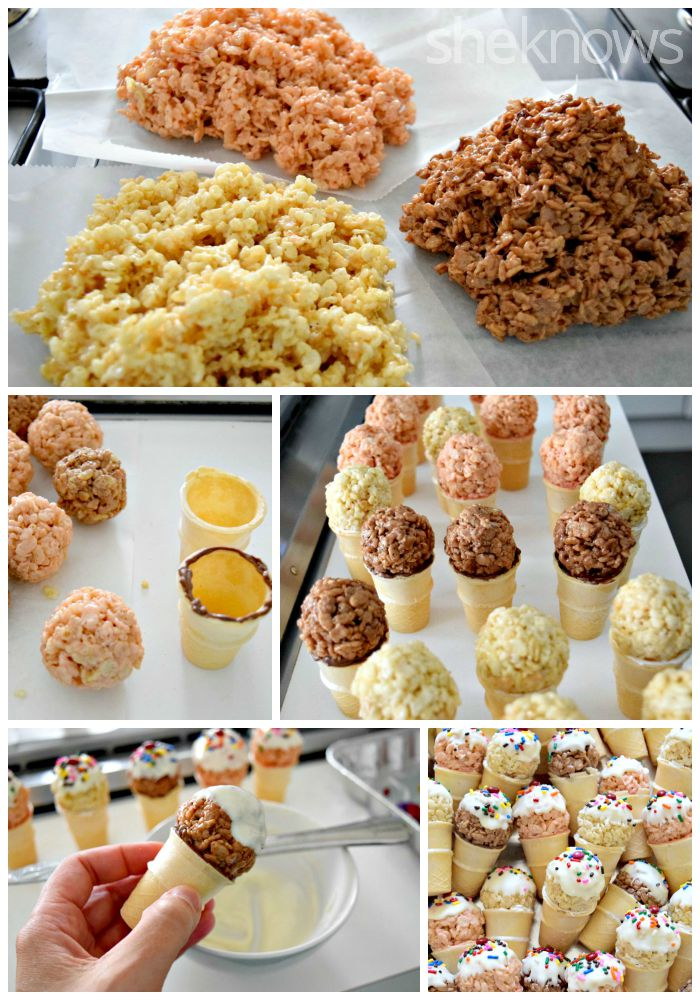 ice cream cones made from cereal treats how to