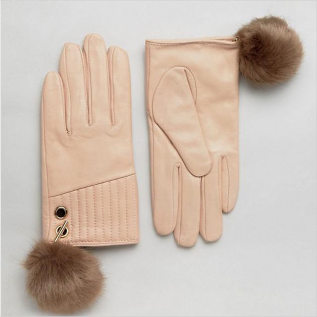 River Island Pom Leather Gloves