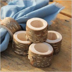 Set of 6 rustic birch bark napkin ring holders