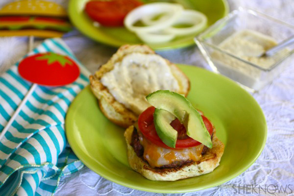 Green chile burgers with chile-lime mayo