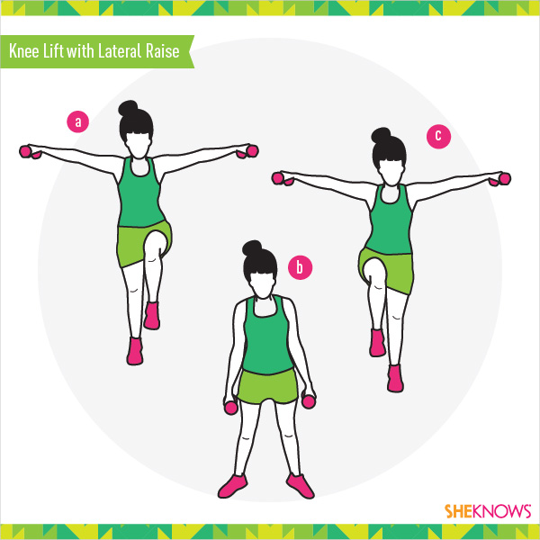 Knee lift with lateral raise