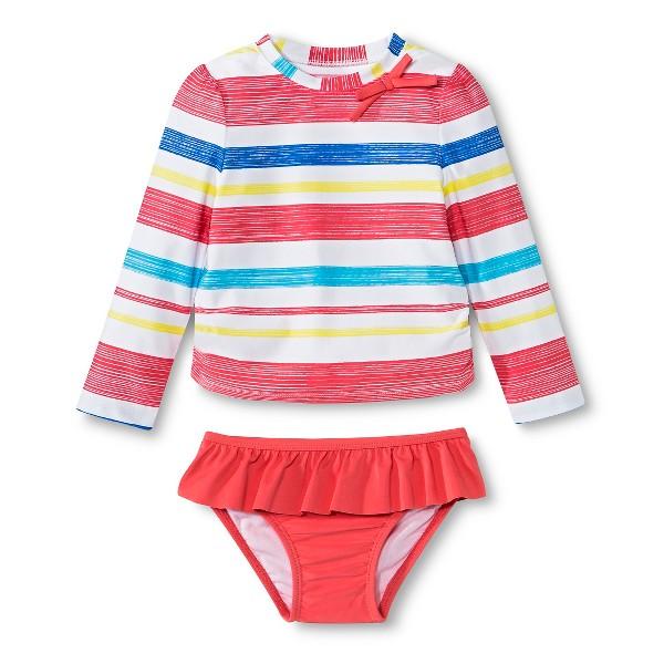 Girls' long sleeve striped rashguard with bikini