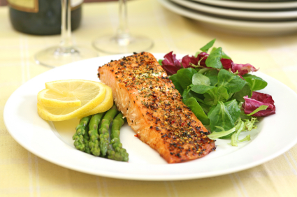 Salmon dinner on plate