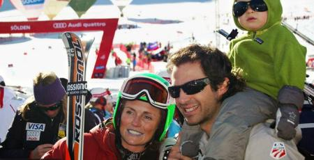 Sarah Schleper and her husband and son in Austria