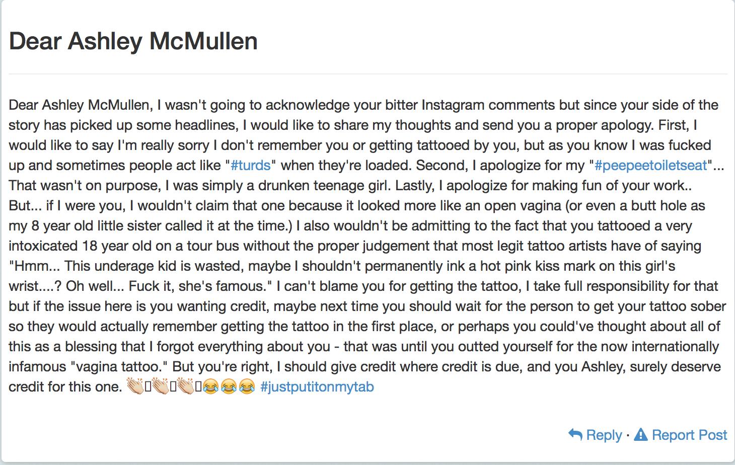 Demi Lovato tattoo artist response