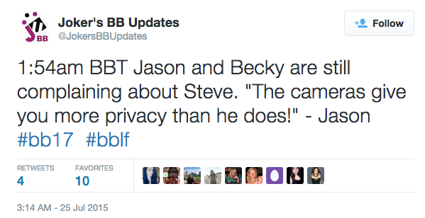 Steve Big Brother tweet