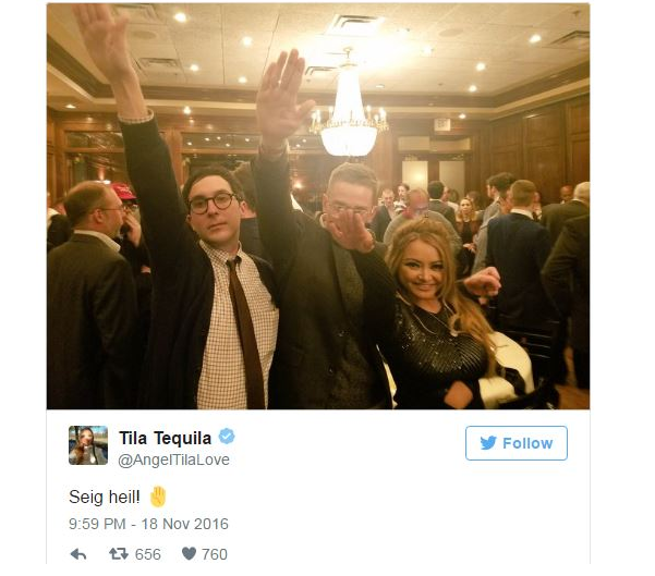 Tila Tequila racist seig heil image
