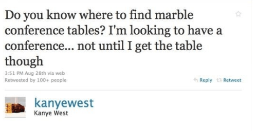 Kanye West's marble conference table