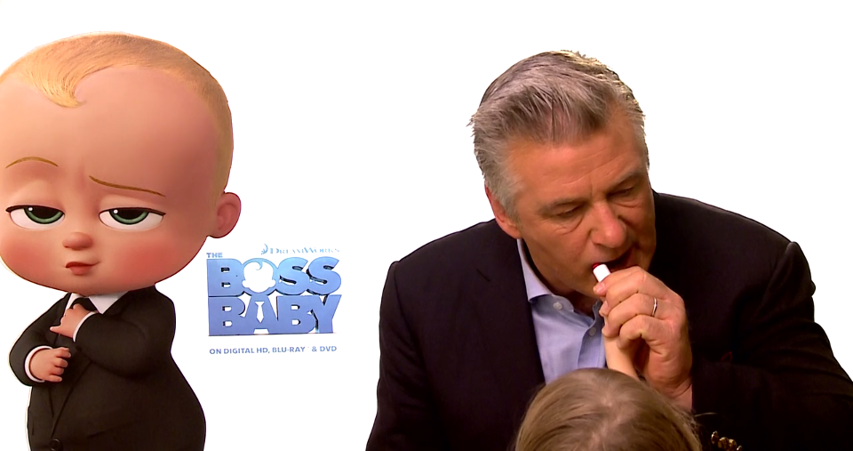 Alec Baldwin's 3-year-old daughter helps him with a lipstick touchup