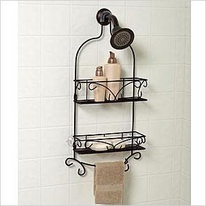 Bronzed showerhead caddy
