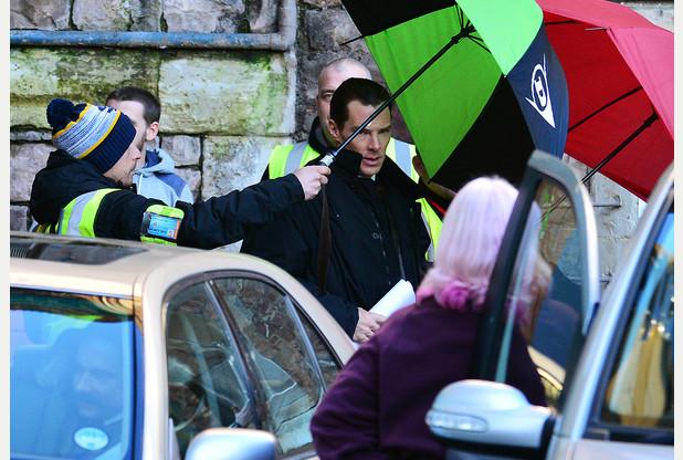 Benedict Cumberbatch on the Sherlock set.
