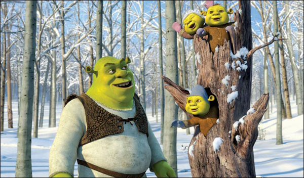 Shrek and the kids take a holiday walk in Shrek the Halls