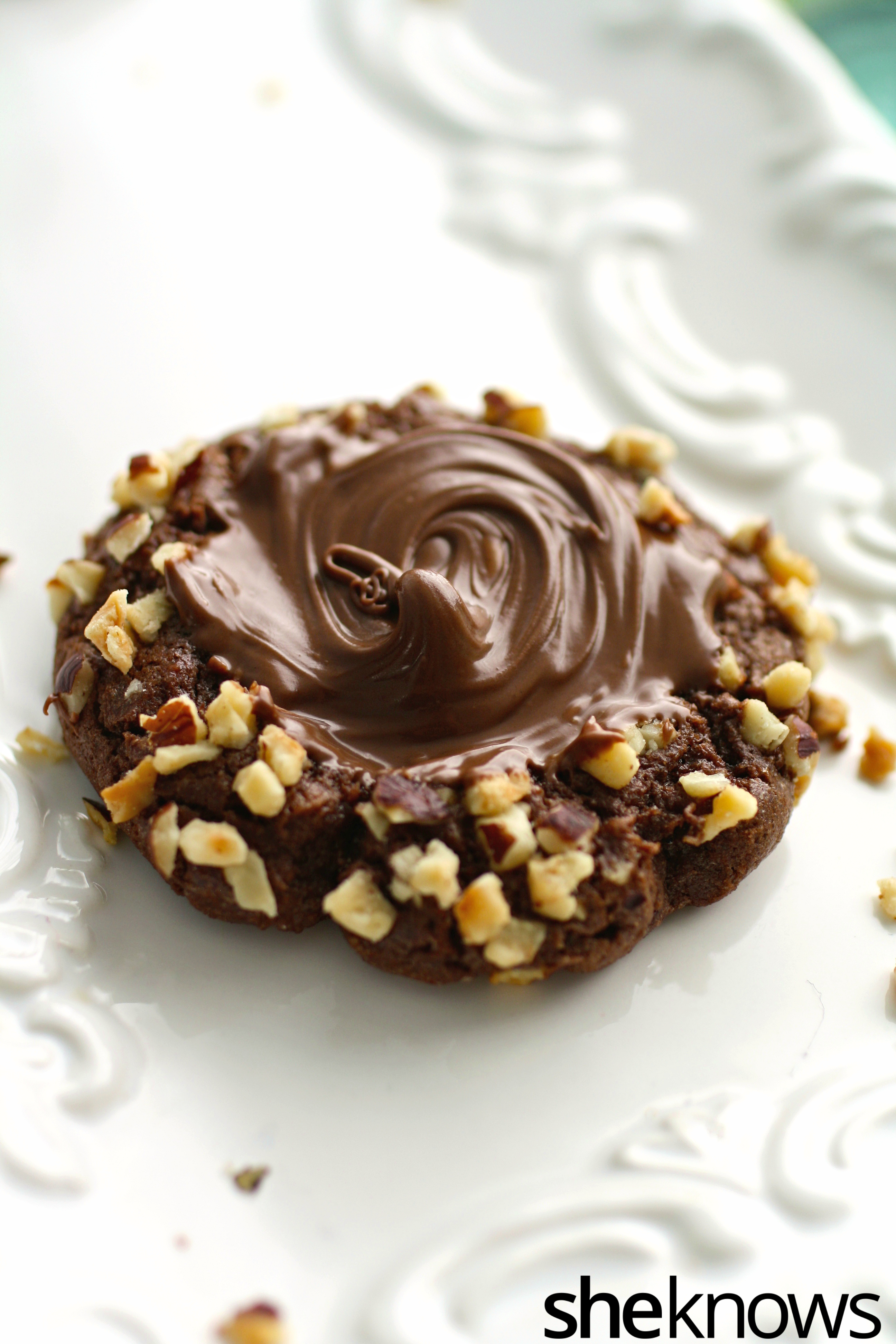 Get your hands on these chocolate Nutella-filled thumbprint cookies!