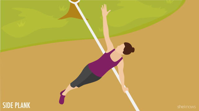 Side plank exercise on a slackline