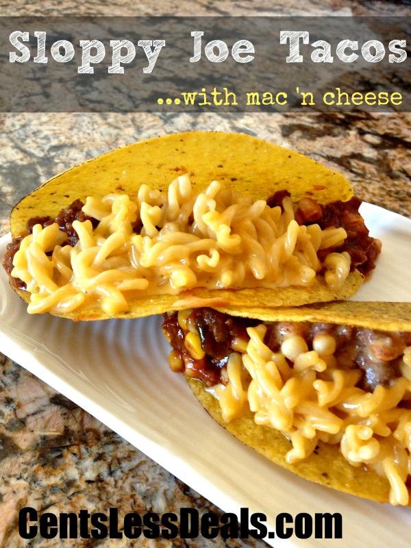 Sloppy Joe mac and cheese tacos