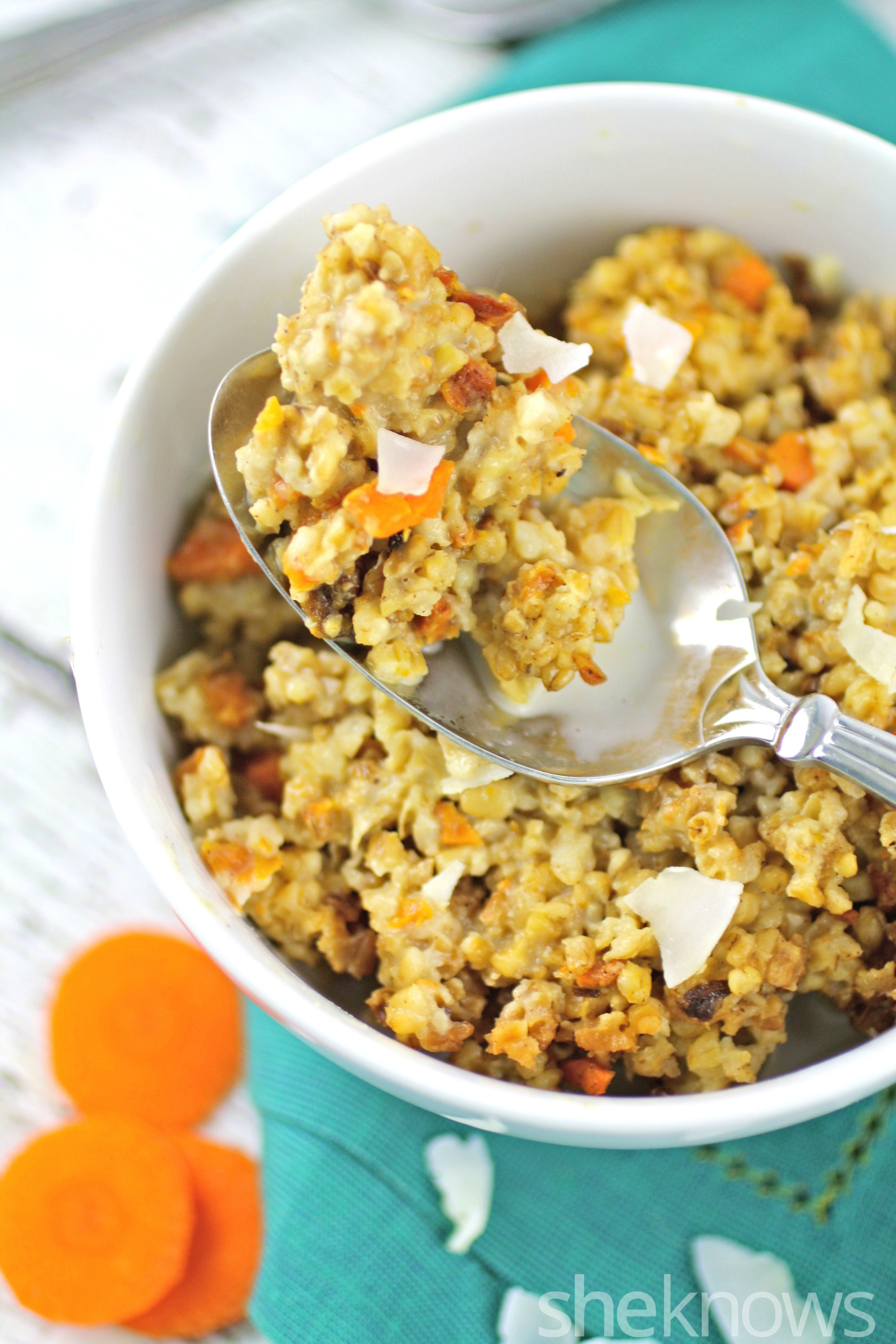 Wake up to slow cooker overnight carrot and coconut oats with maple syrup