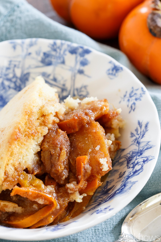 Slow cooker persimmon cobbler dessert