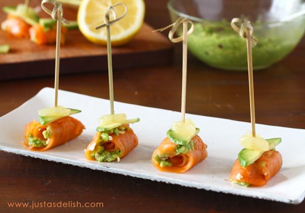 smoked salmon and avocado bites