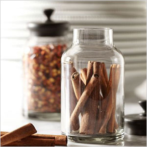 Glass and metal spice jar