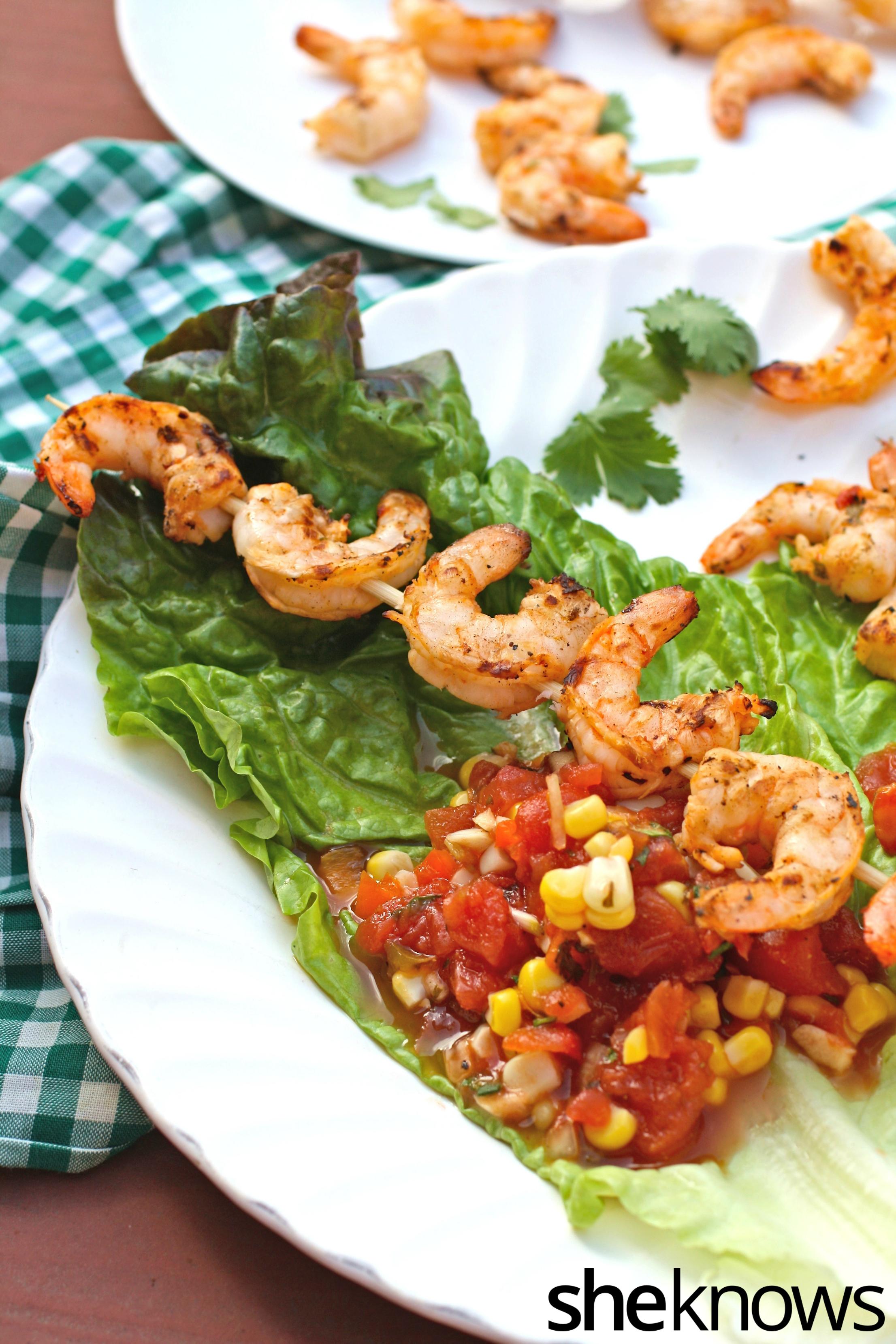 Spicy grilled shrimp kebab lettuce wraps