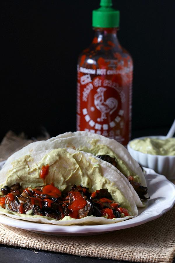 Spicy portobello mushroom tacos with avocado sauce recipe
